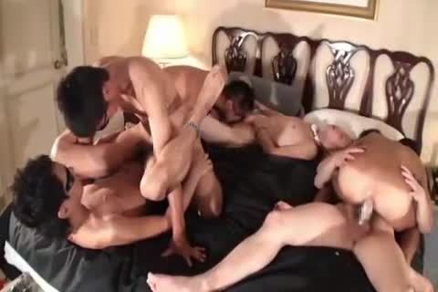Japanese homosexual guys bunch fuckfest